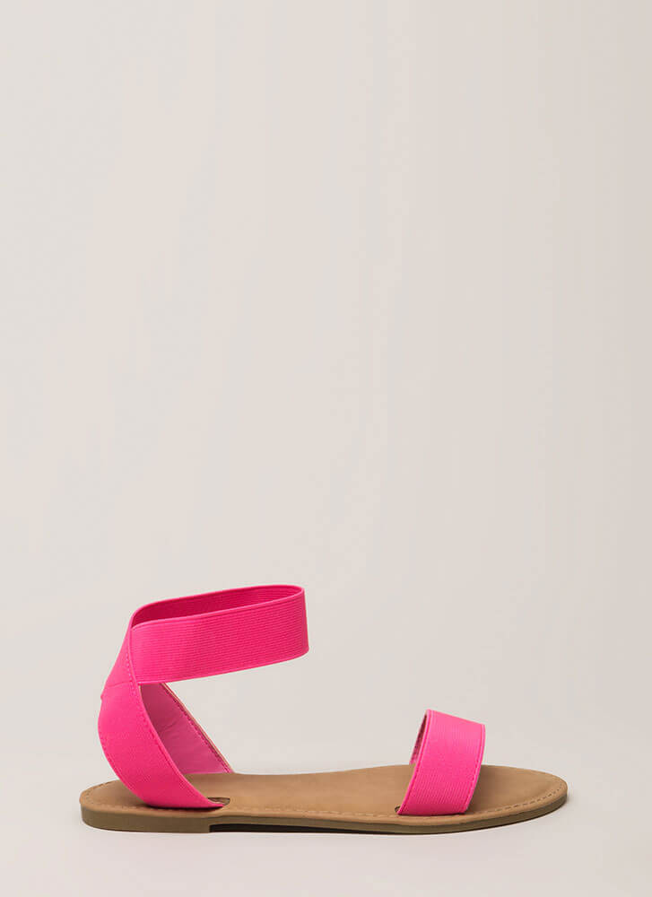 Band Together Strappy Elastic Sandals NEONPINK