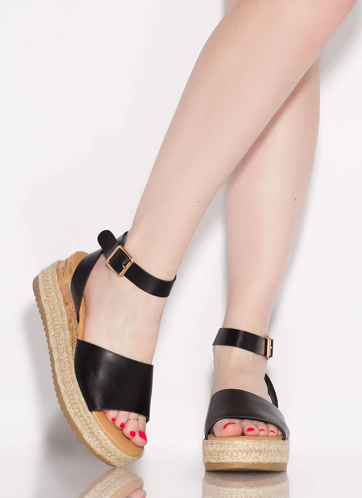 Vacationing Braided Wedge Sandals BLACK