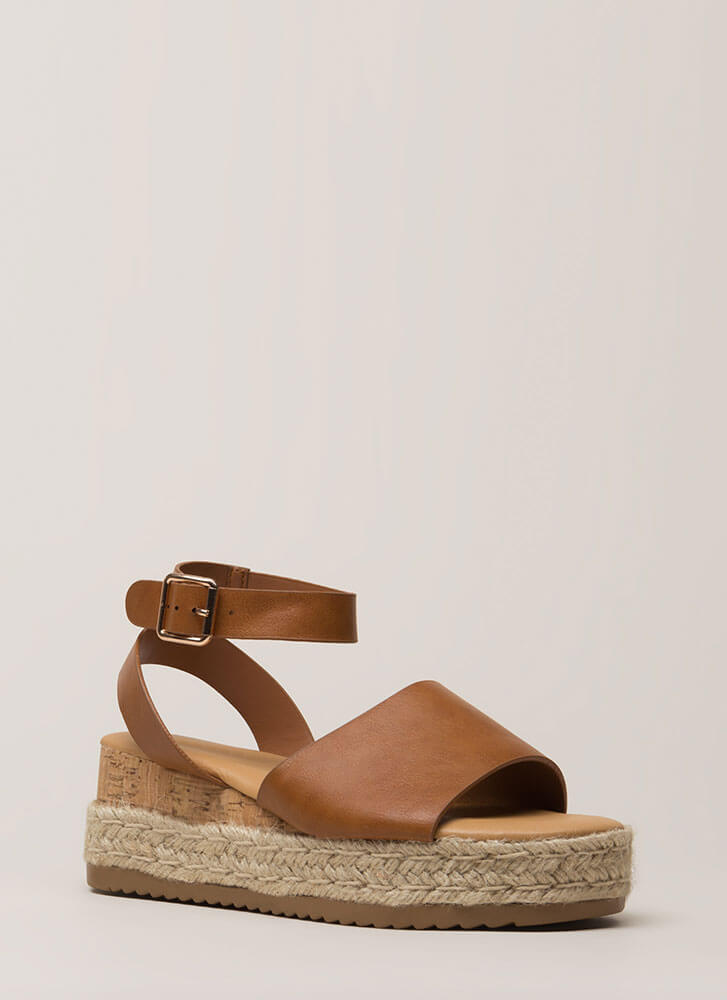 Vacationing Braided Faux Leather Wedges TAN