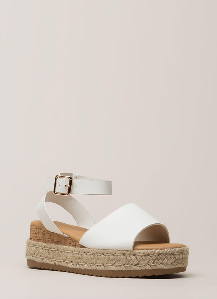 Vacationing Braided Faux Leather Wedges WHITE