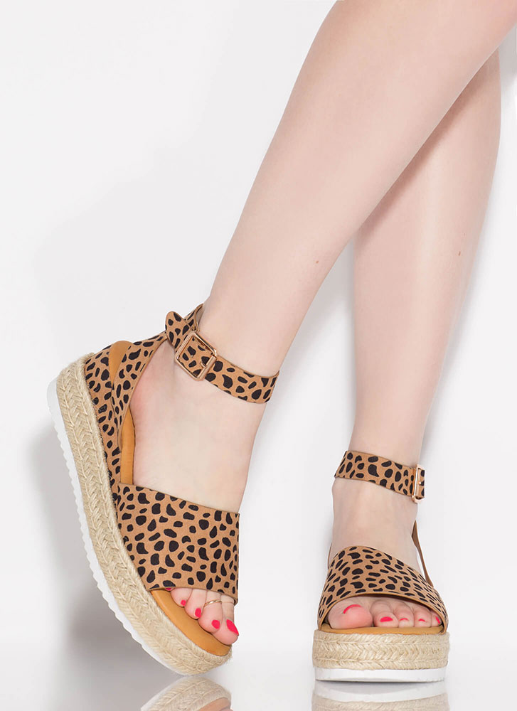 Vacationing Braided Faux Suede Wedges CHEETAH