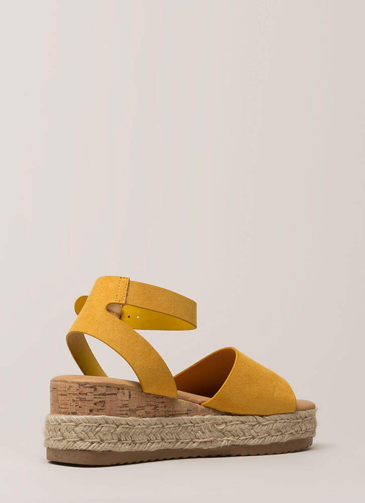 Vacationing Braided Faux Suede Wedges MARIGOLD