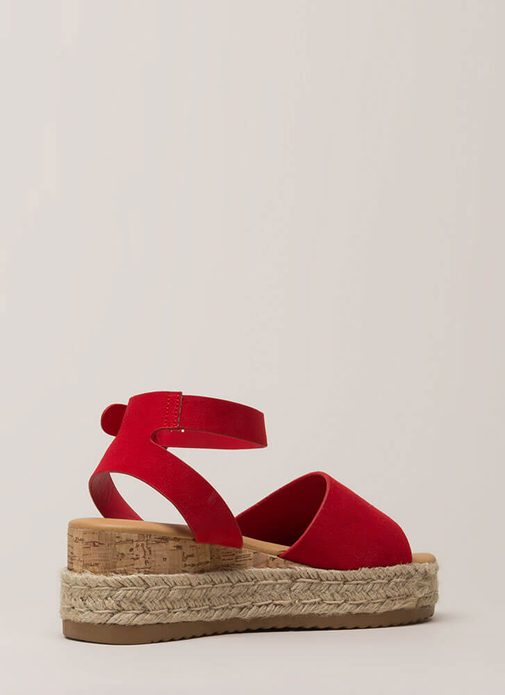 Vacationing Braided Faux Suede Wedges RED