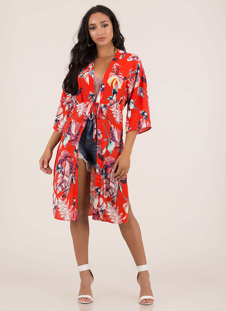 Leaf For Vacation Tropical Kimono Top RED