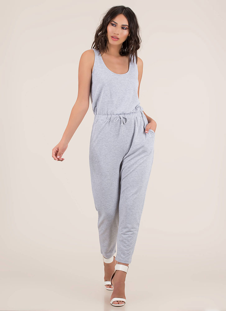 It's My Day Off Drawstring Jumpsuit HGREY