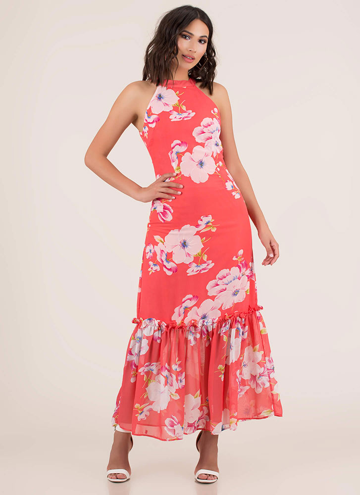 Springtime Tiered Floral Maxi Dress CORAL