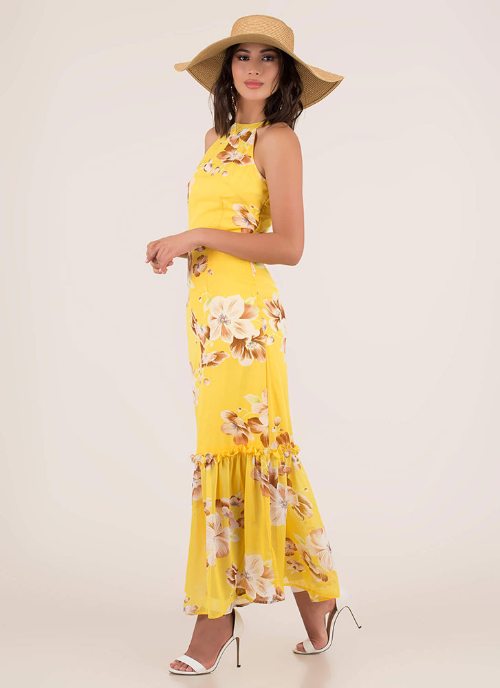 Springtime Tiered Floral Maxi Dress YELLOW