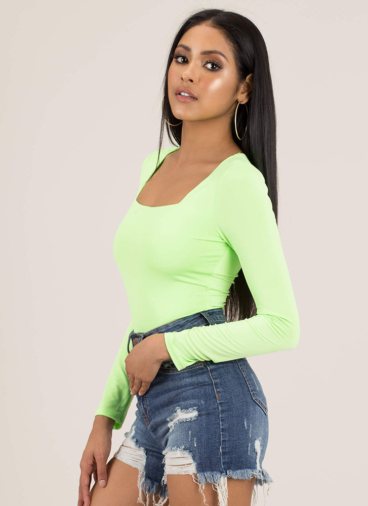 Back To Square-Neck One Bodysuit NEONGREEN