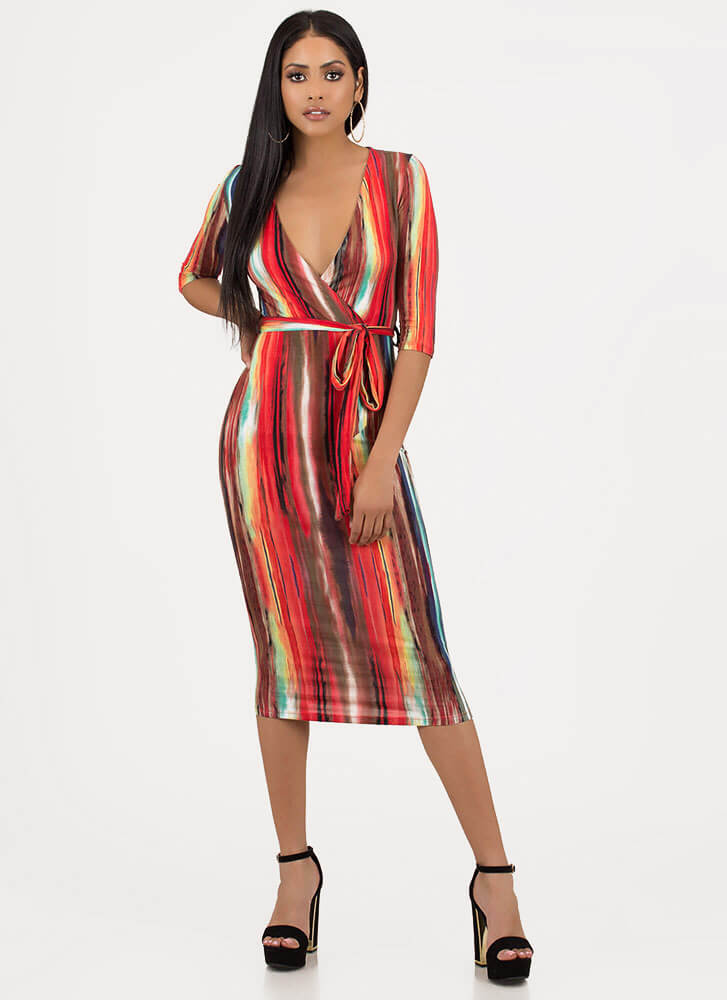 Paint Is Beauty Streaky Tied Dress MULTI