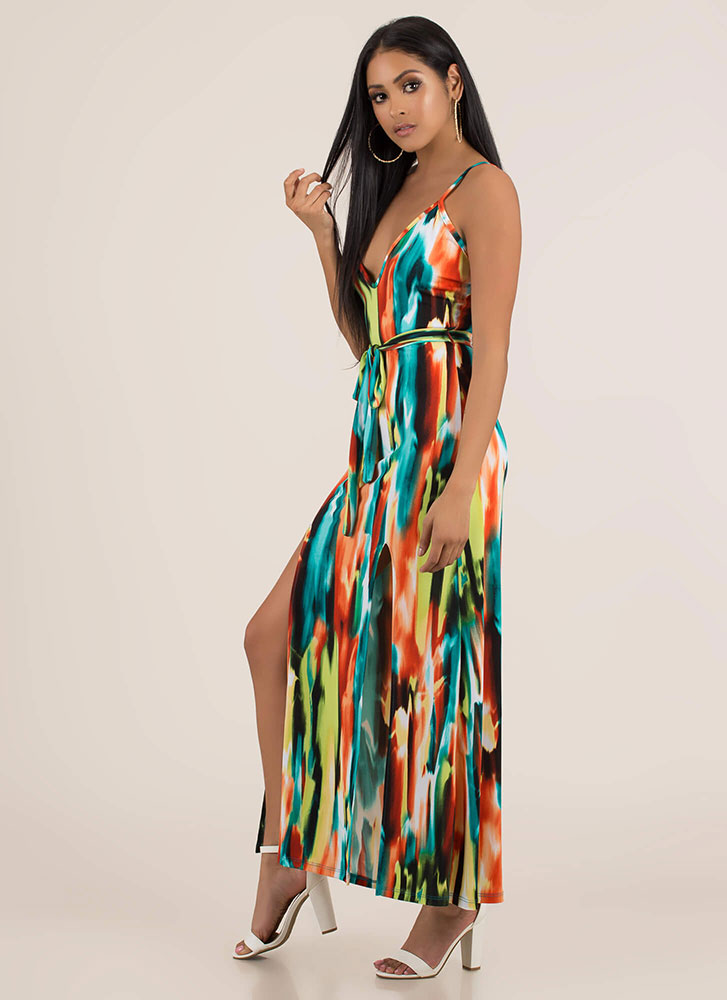 New Palette Painted Double Slit Maxi GREENMULTI