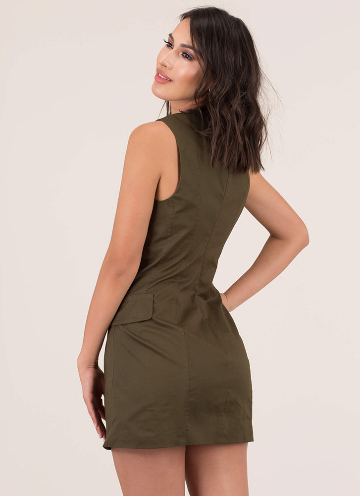 Vest Of Luck Plunging Cargo Minidress OLIVE (Final Sale)