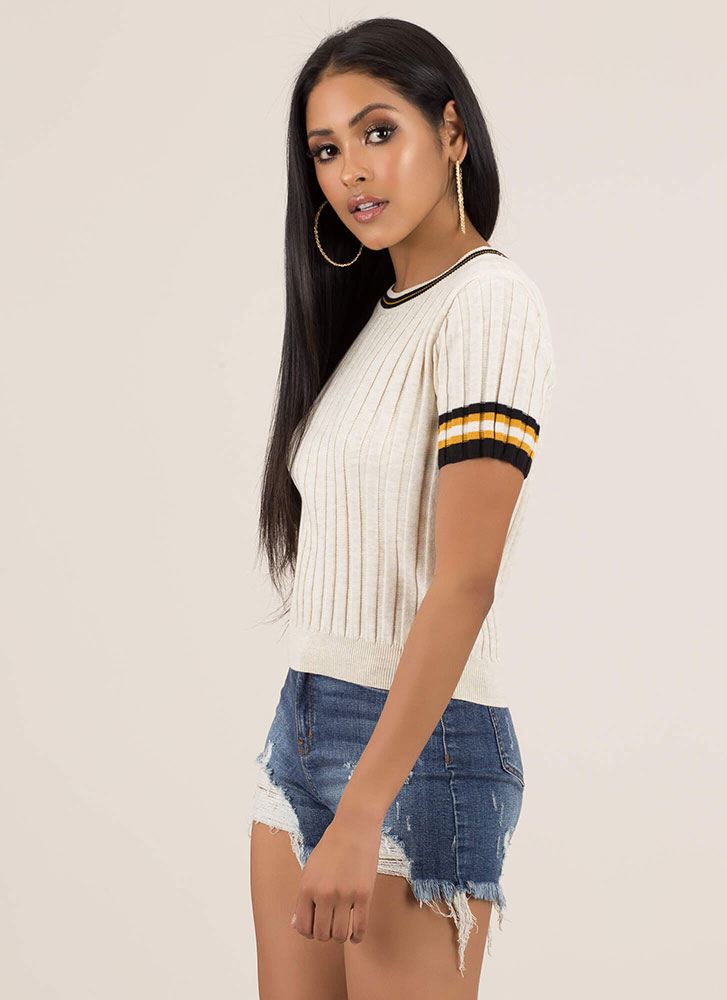 Preppy Life Ribbed Striped Trim Top NATURAL