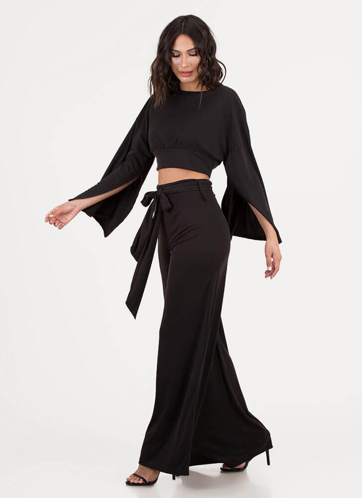 Wing Woman Split Sleeve Palazzo Pant Set BLACK