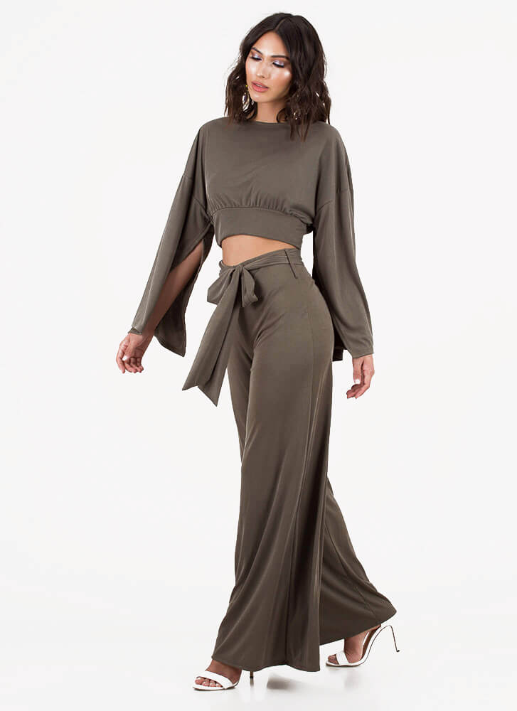 Wing Woman Split Sleeve Palazzo Pant Set OLIVE