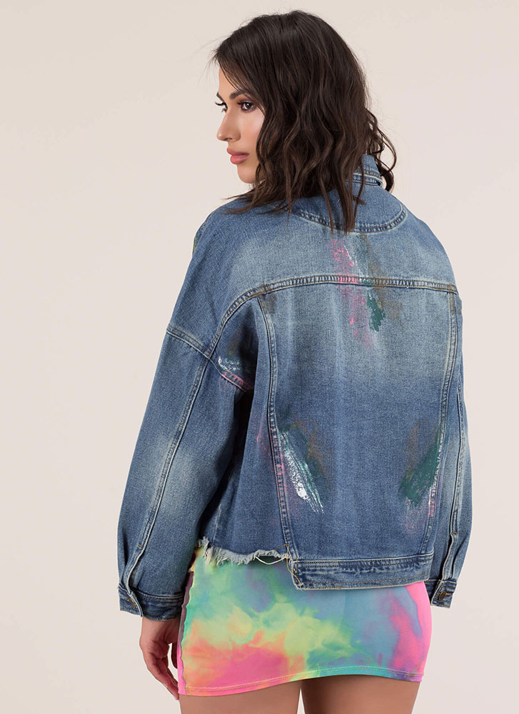 Covered In Paint Distressed Jean Jacket BLUE