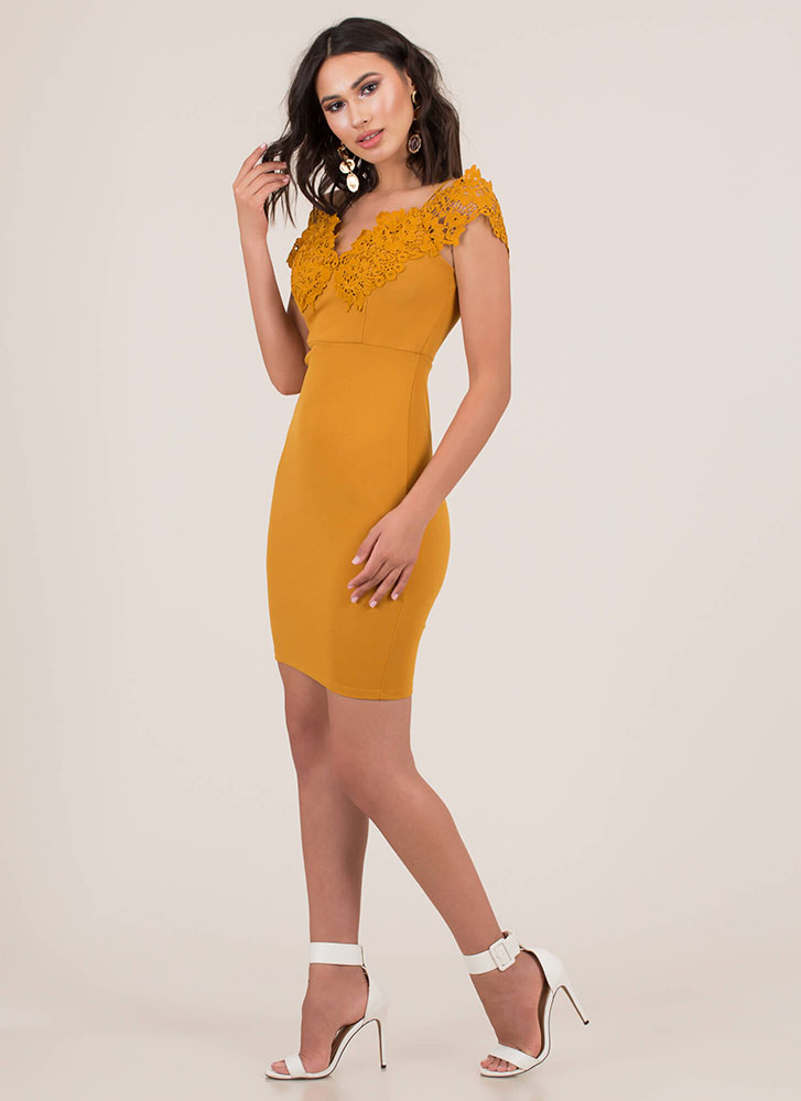 Floral Fragrance Crochet Applique Dress MUSTARD