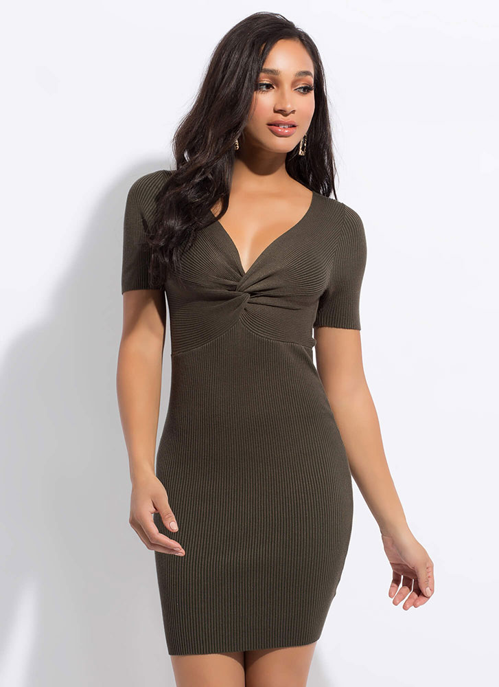 Knot Yours Ribbed Twist-Front Dress OLIVE