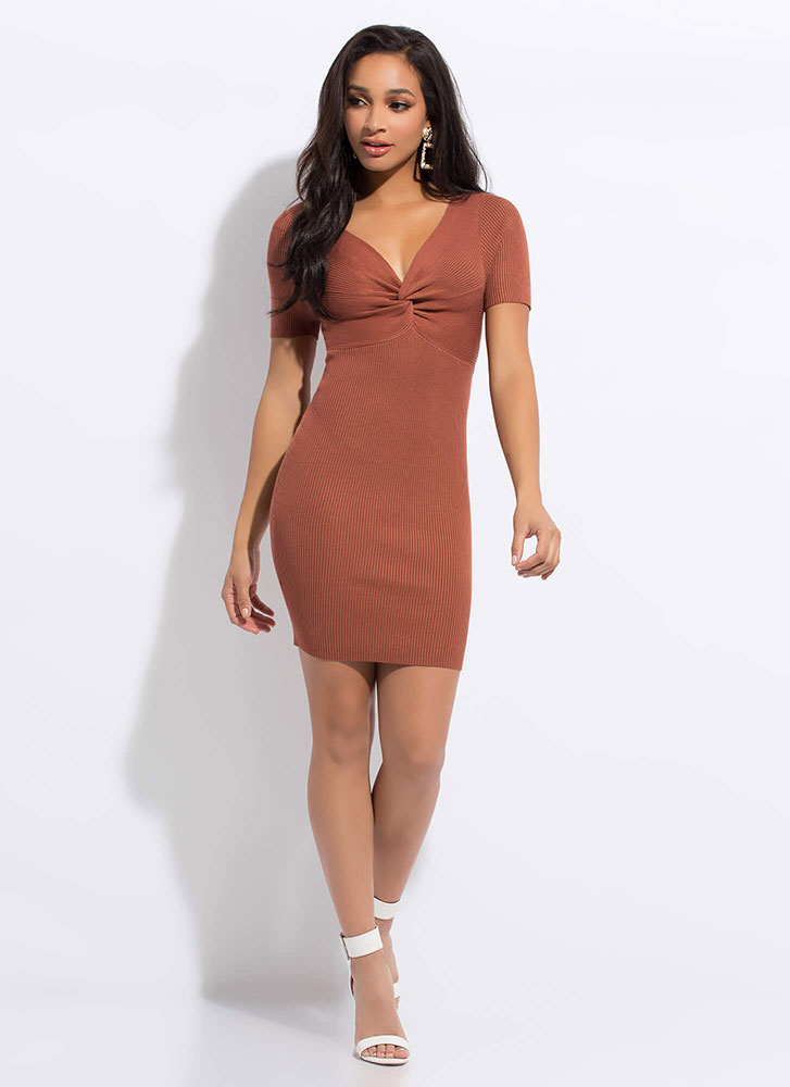 Knot Yours Ribbed Twist-Front Dress RUST