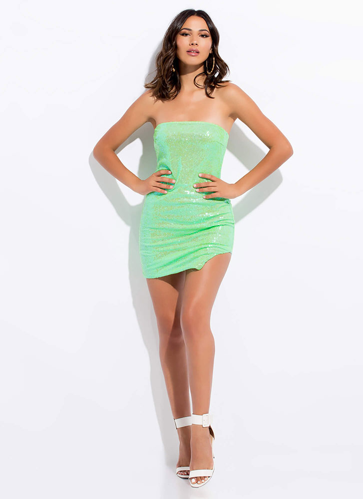 Sparkly Sequins Strapless Slit Minidress NEONGREEN