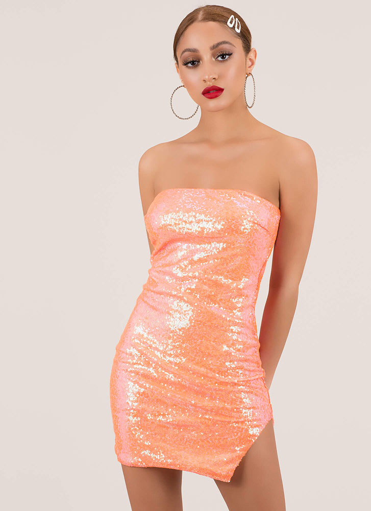 Sparkly Sequins Strapless Slit Minidress NEONORANGE