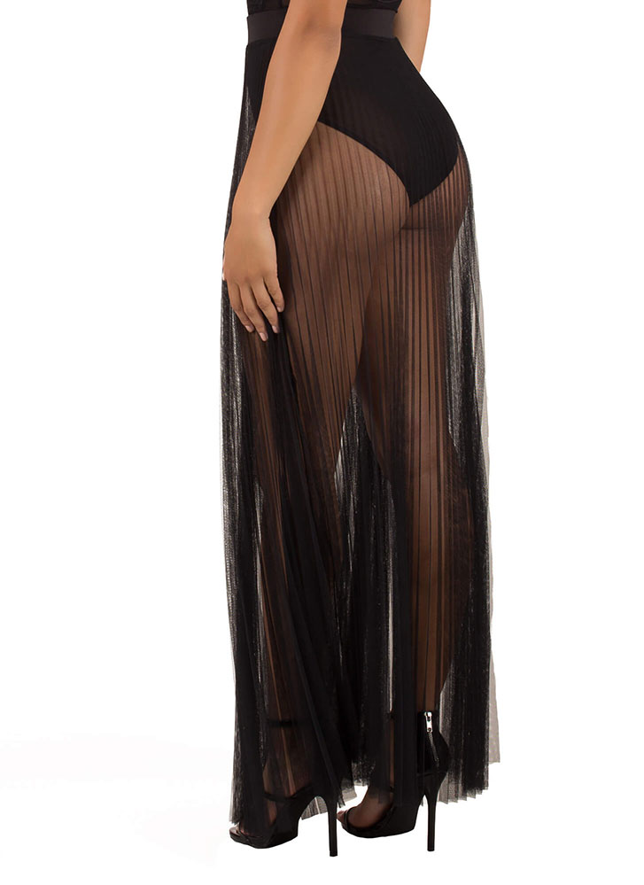 Pleats And Thank You Sheer Maxi Skirt BLACK