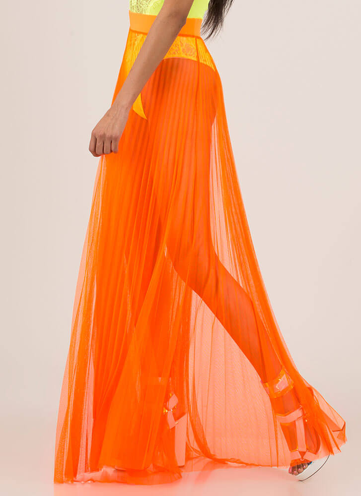 Pleats And Thank You Sheer Maxi Skirt NEONORANGE