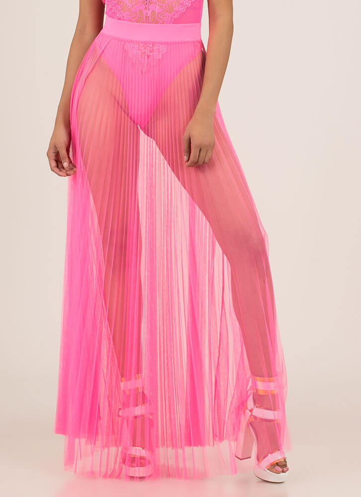 Pleats And Thank You Sheer Maxi Skirt NEONPINK