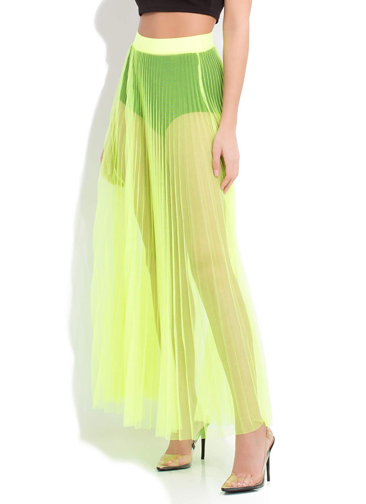 Pleats And Thank You Sheer Maxi Skirt NEONYELLOW