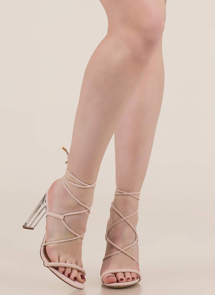 Raise The Bar Lace-Up Lucite Heels NUDE
