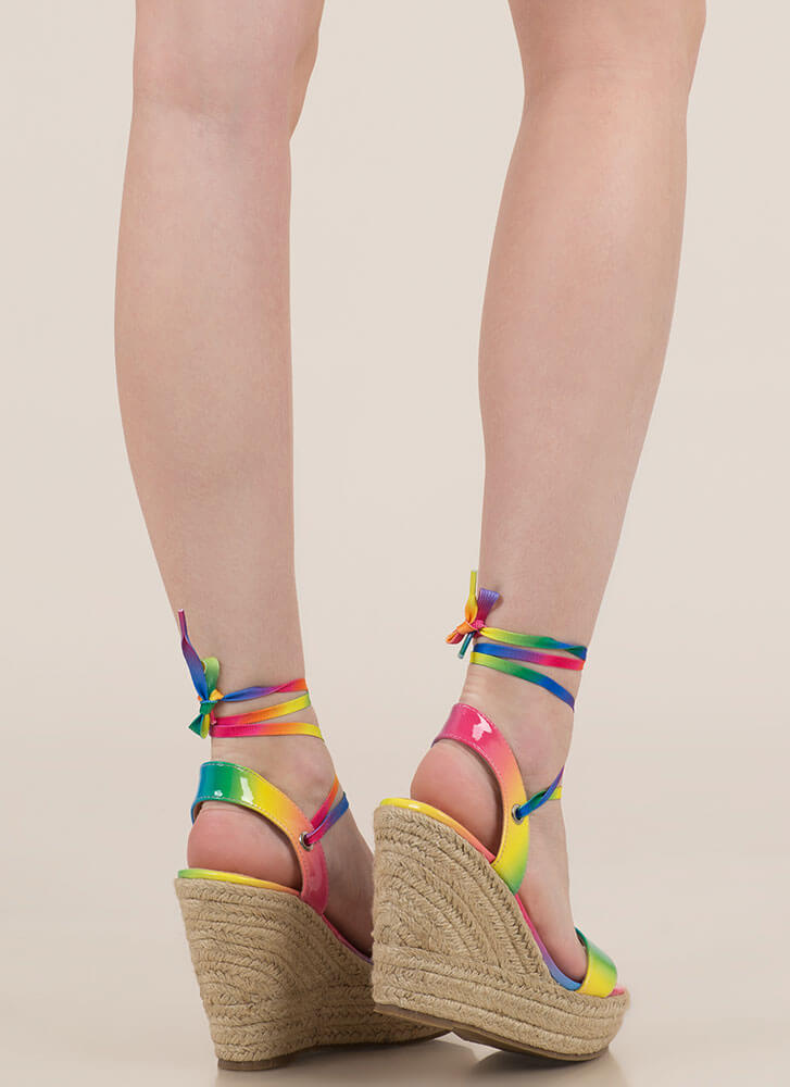 Color Girl Lace-Up Rainbow Wedges RAINBOW