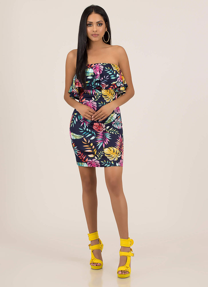 Leaf It To Me Strapless Ruffled Dress MULTI