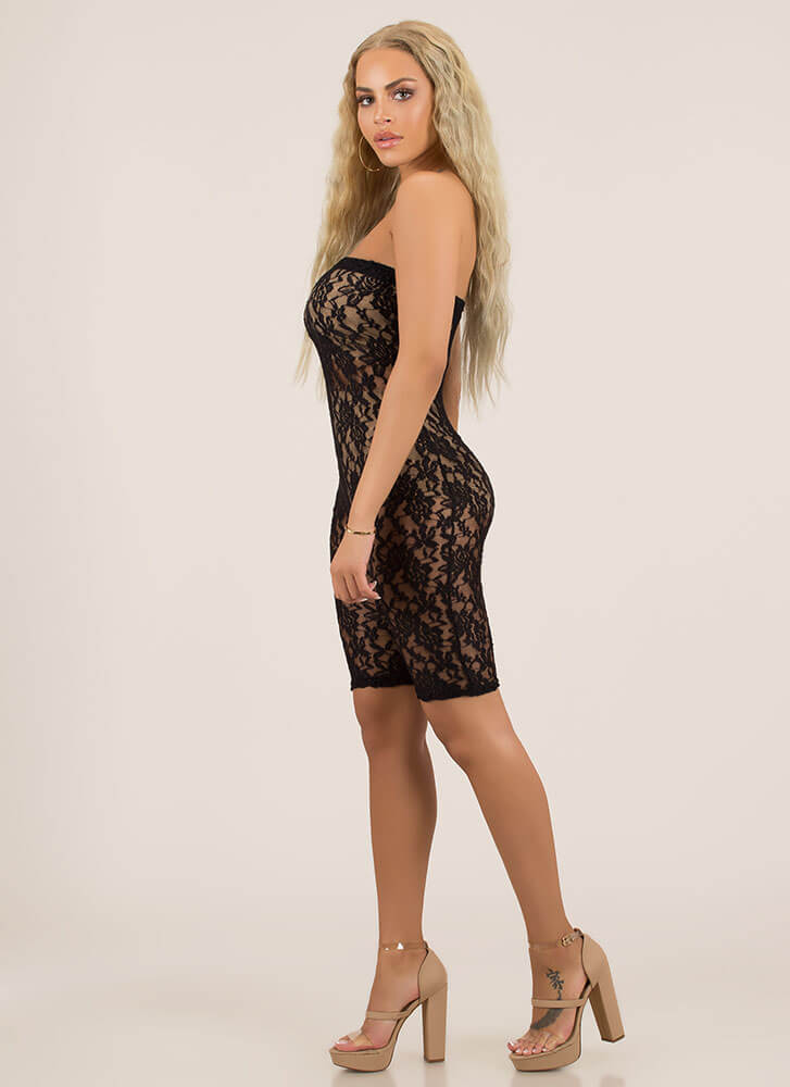 Amazing Lace Strapless Sheer Romper BLACK