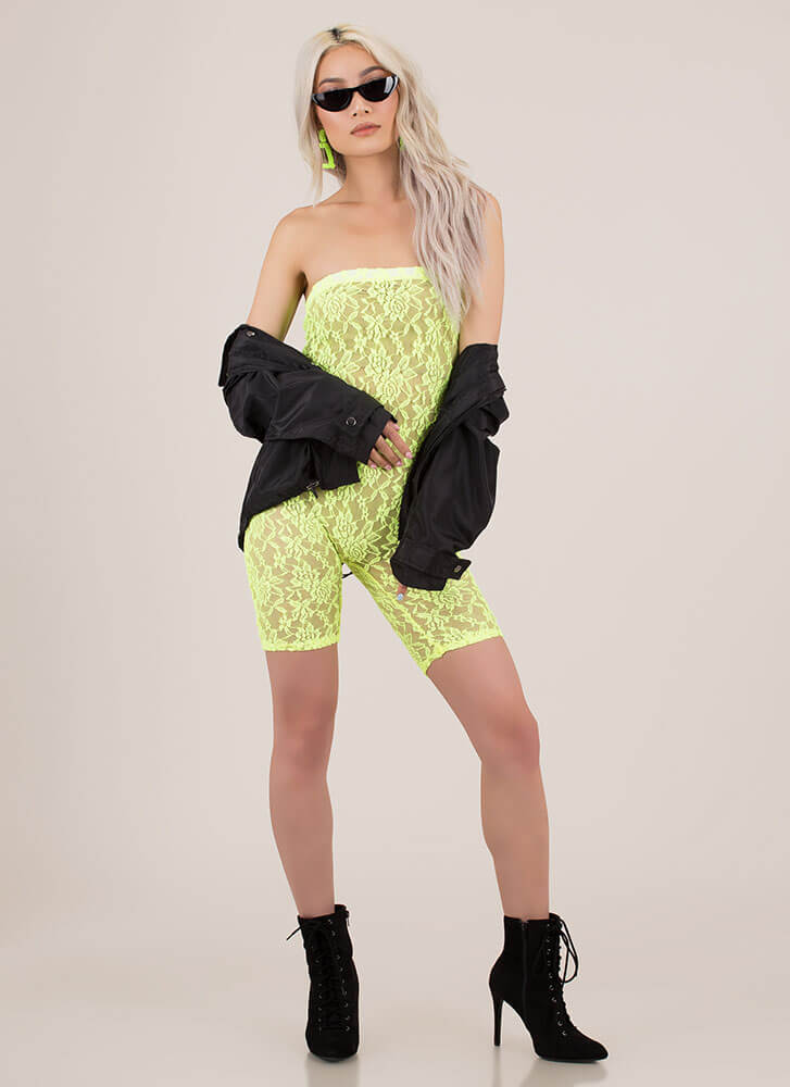 Amazing Lace Strapless Sheer Romper NEONGREEN