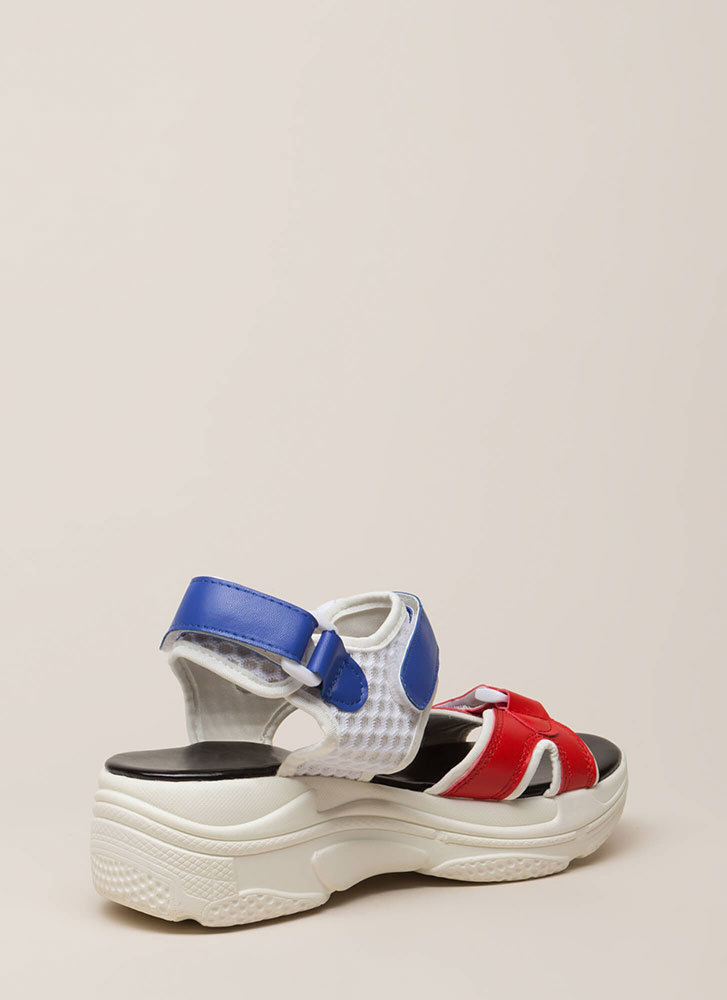 Get Sporty Colorblock Platform Sandals REDBLUE (Final Sale)
