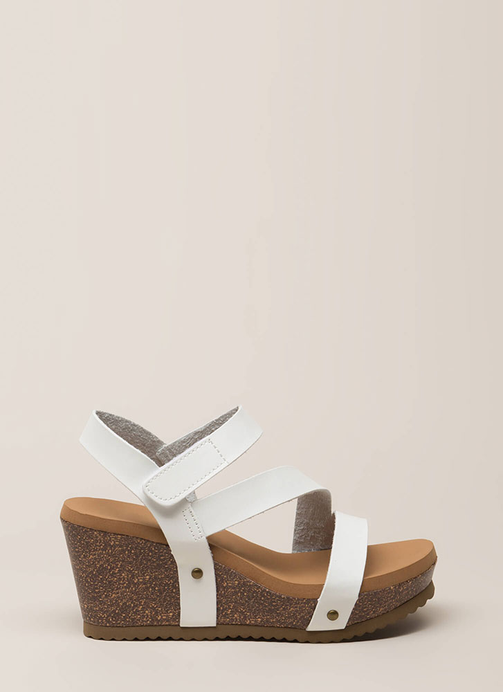 Walk In The Park Strappy Platform Wedges WHITE (Final Sale)