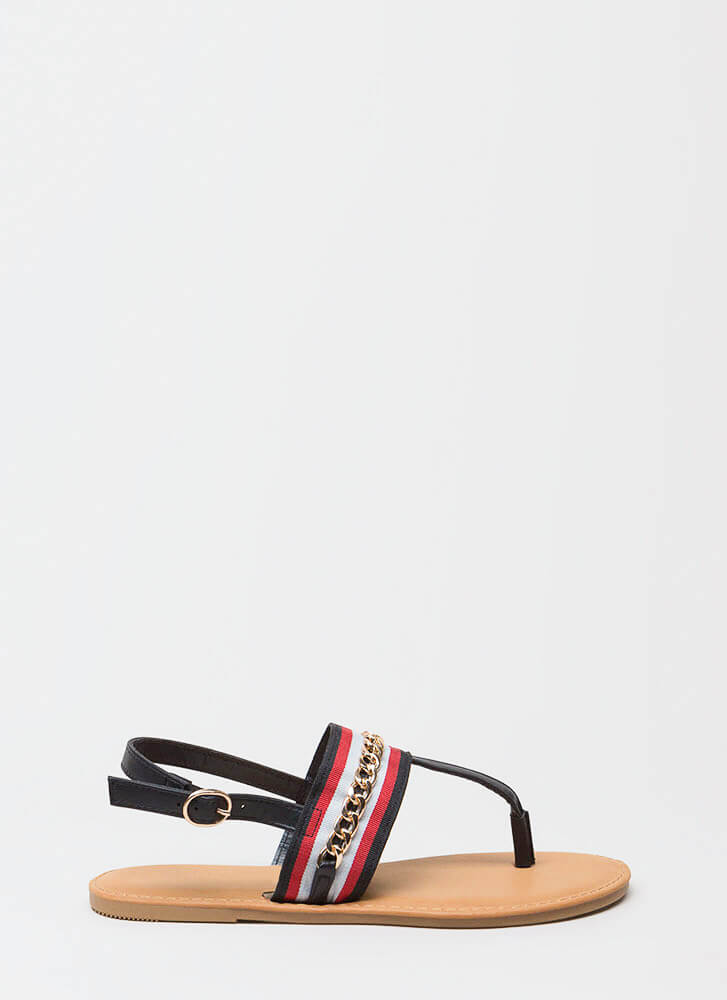 Chain Effect Striped T-Strap Sandals BLACK