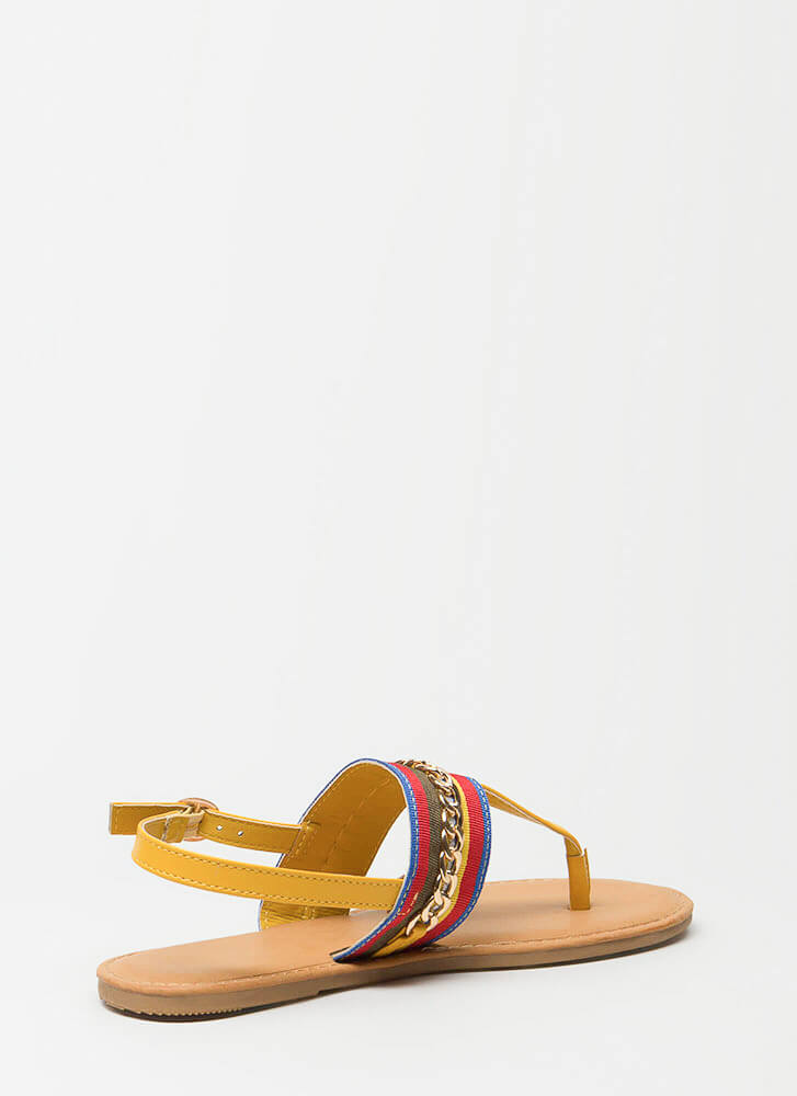 Chain Effect Striped T-Strap Sandals MARIGOLD