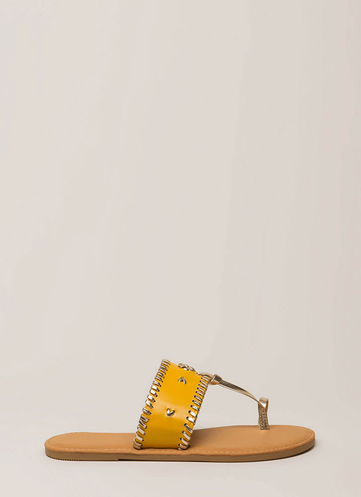 Toes Of The Town Stitch Accent Sandals MARIGOLD (Final Sale)