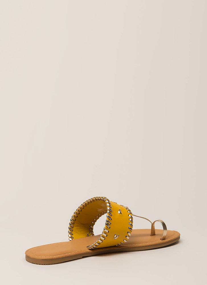 Toes Of The Town Stitch Accent Sandals MARIGOLD