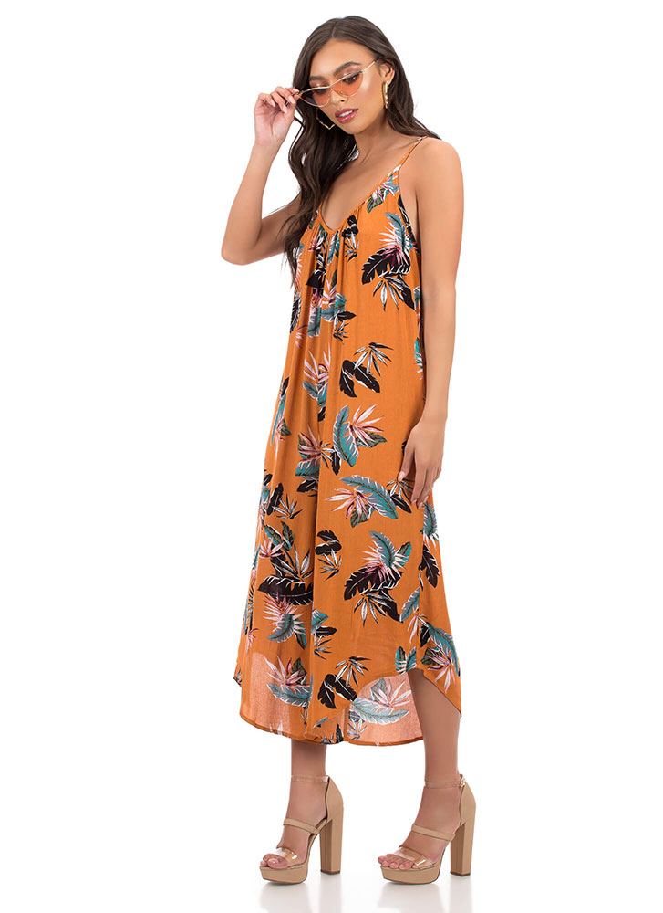 Relax Wide Cropped Tropical Jumpsuit MUSTARD
