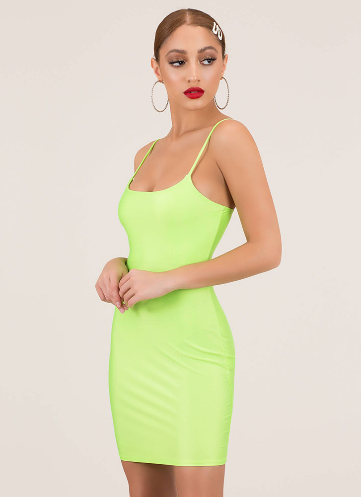 Figure It Out Yourself Nylon Minidress NEONGREEN