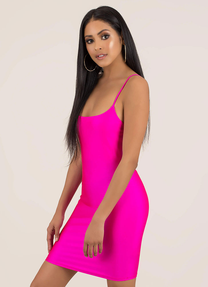 Figure It Out Yourself Nylon Minidress NEONPINK
