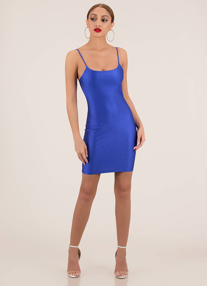 Figure It Out Yourself Nylon Minidress ROYAL