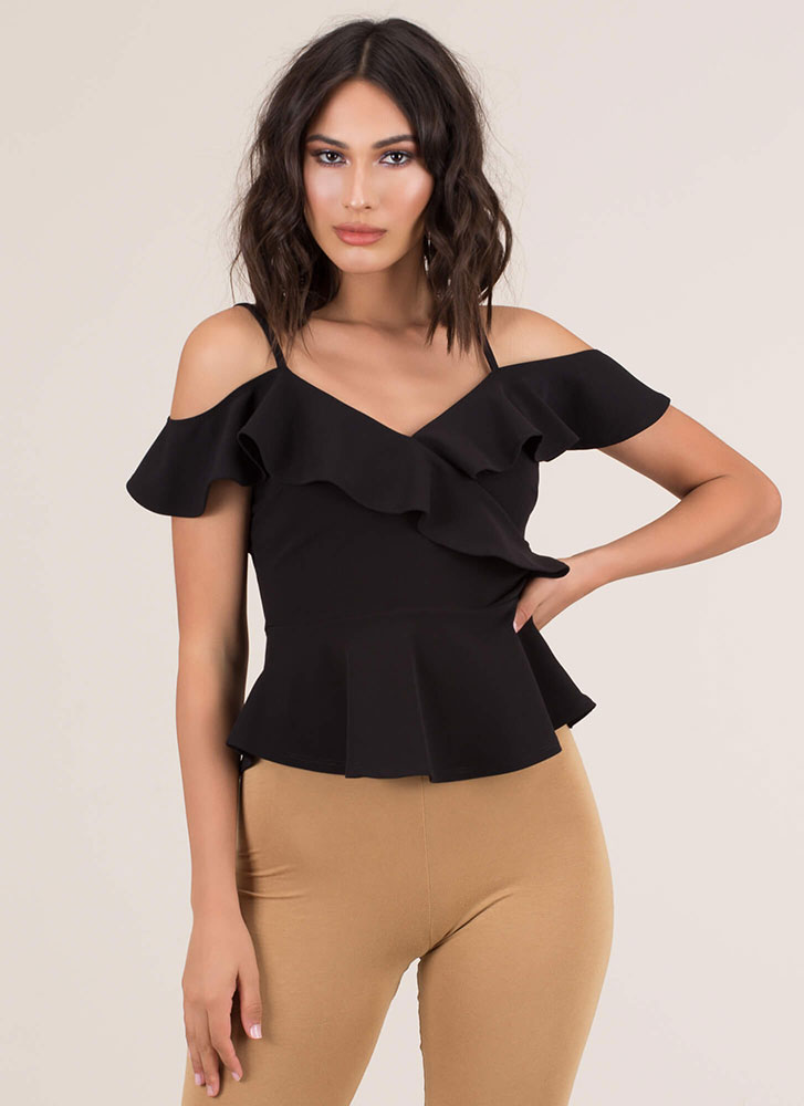 Pretty Peplum Ruffled Cold-Shoulder Top BLACK