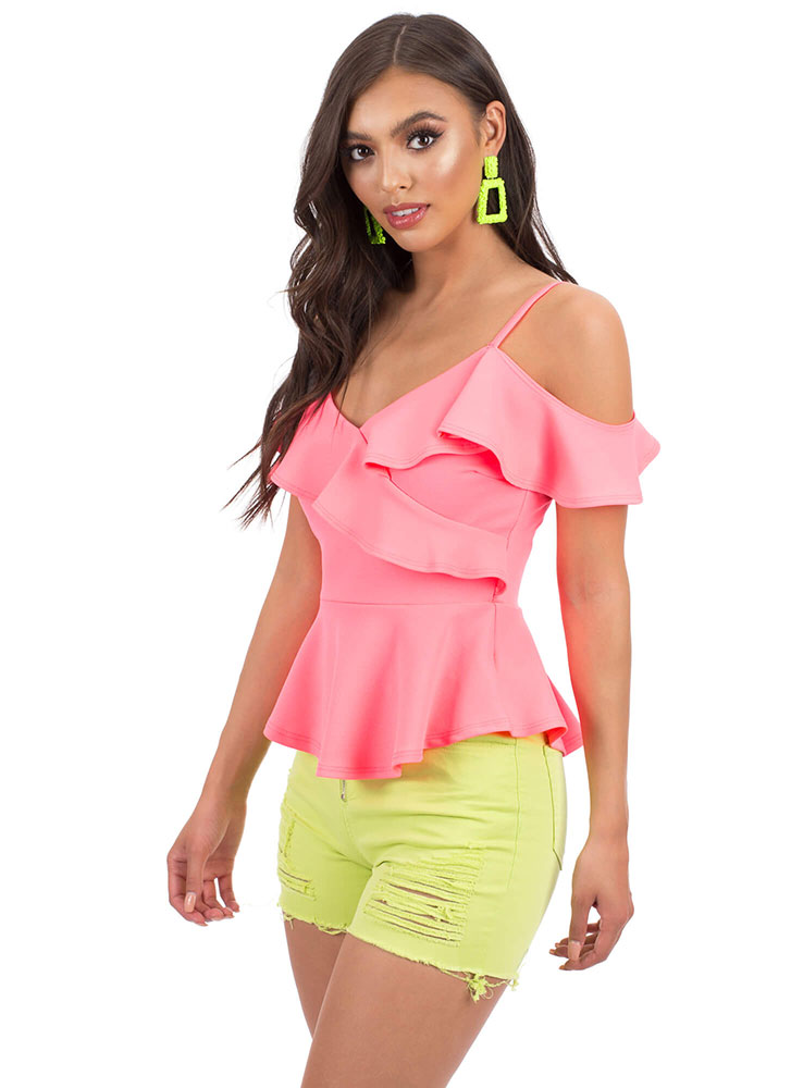 Pretty Peplum Ruffled Cold-Shoulder Top NEONPINK