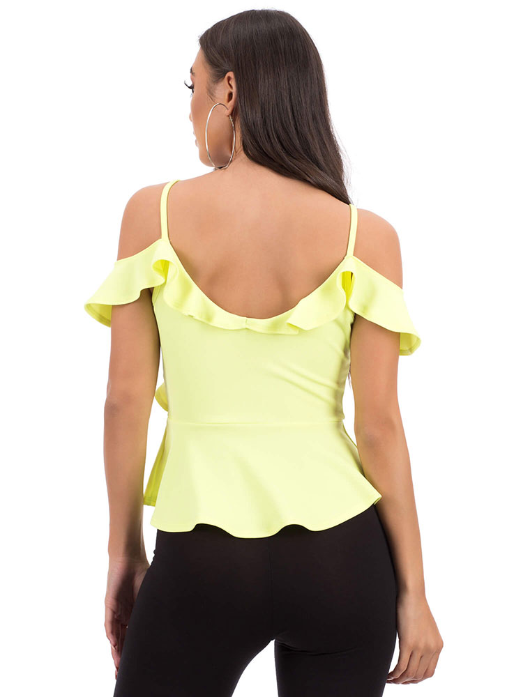 Pretty Peplum Ruffled Cold-Shoulder Top NEONYELLOW