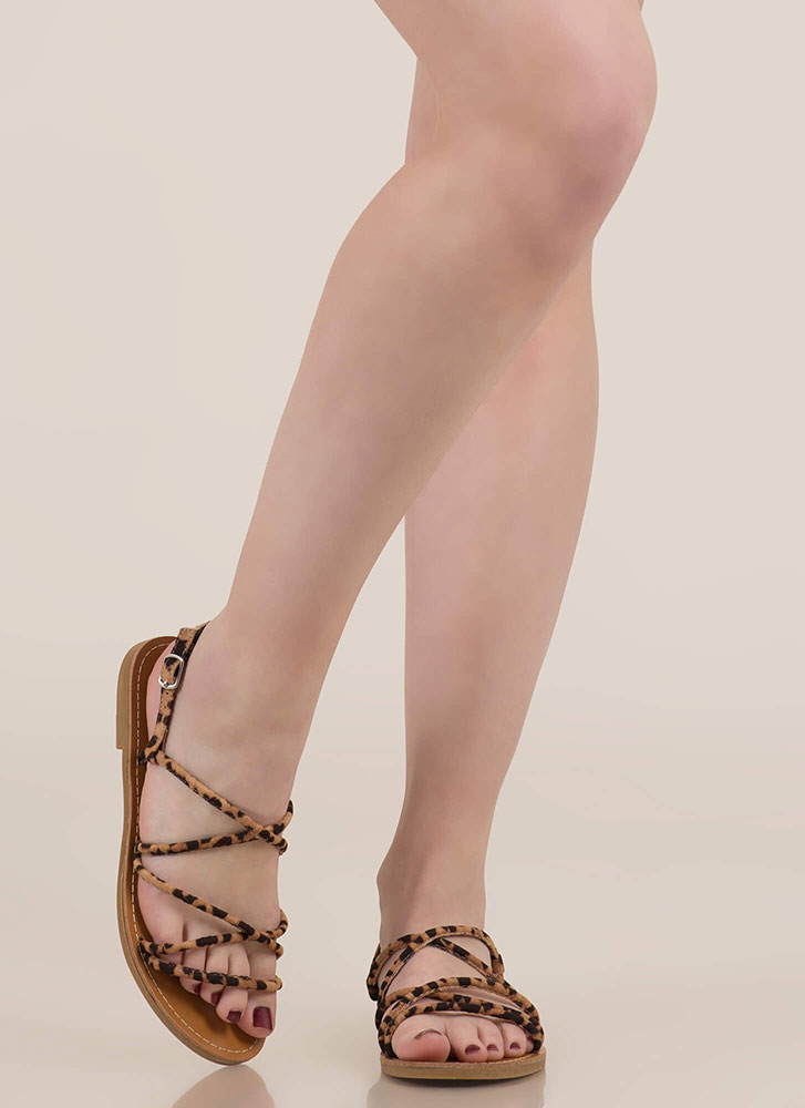 So Wild Strappy Animal Print Sandals LEOPARD
