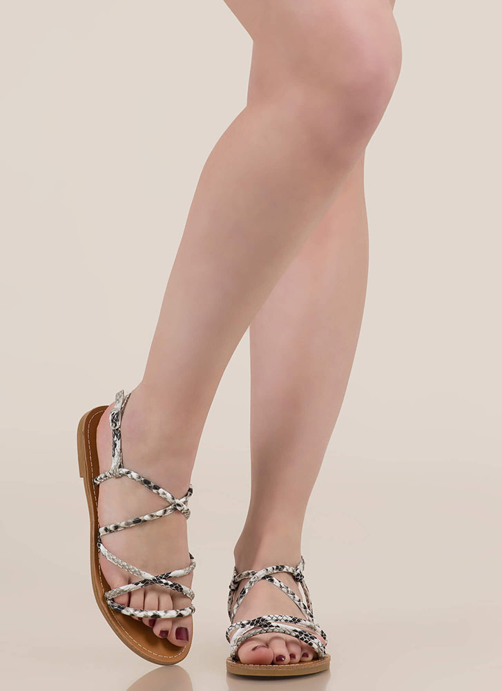So Wild Strappy Animal Print Sandals SNAKE
