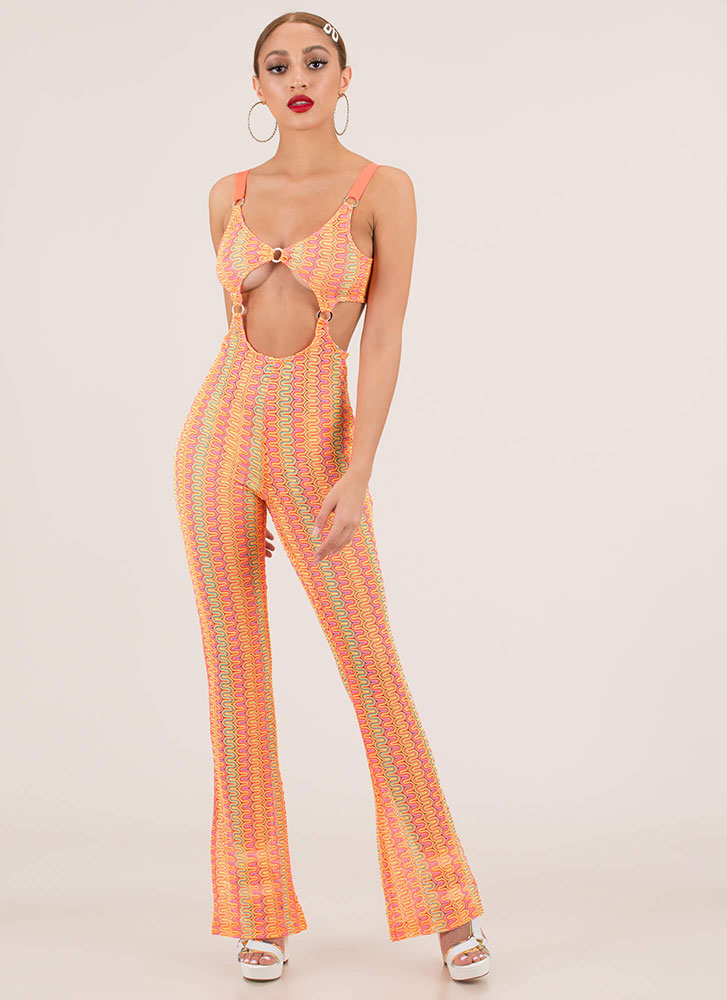 Get Wavy Netted Cut-Out Jumpsuit MULTI