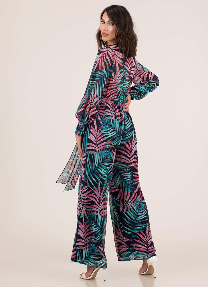 Palms Away Tropical Palazzo Jumpsuit NAVY
